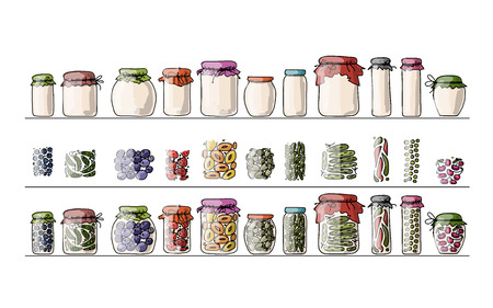 Set of pickle jars with fruits and vegetables, sketch for your design. Vector illustration