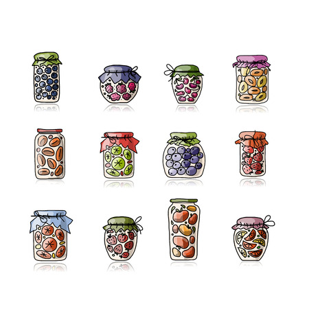 hand jam: Jar with jam, sketch for your design. Vector illustration