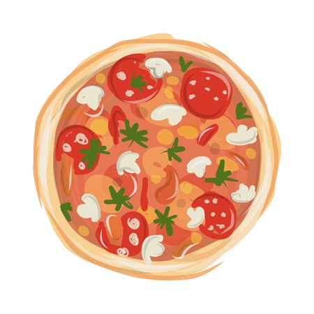 chunk: Pizza with tomato and mushrooms, sketch for your design. Vector illustration