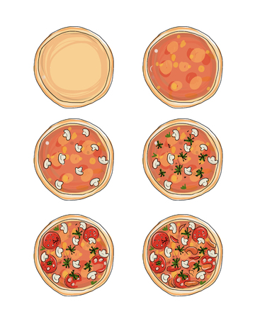 pizza: Stages of cooking pizza, sketch for your design. Vector illustratio