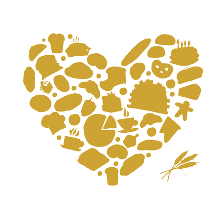 heart sketch: Bakery concept, love heart, sketch for your design. Vector illustration