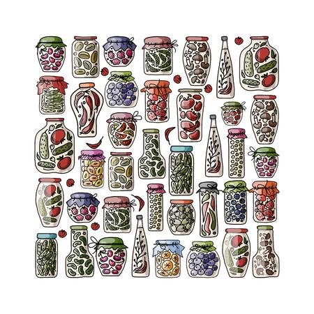 pickled: Set of pickle jars with fruits and vegetables, sketch for your design. Vector illustration