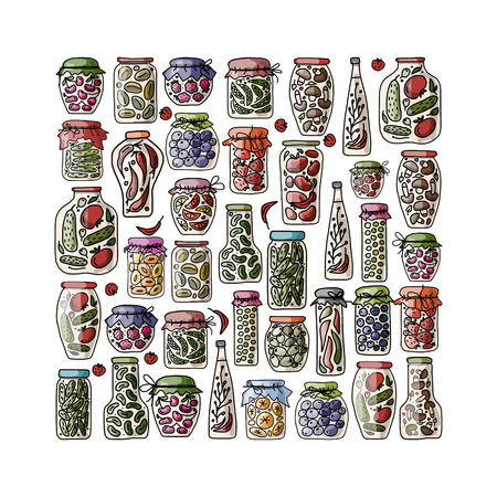 pickle: Set of pickle jars with fruits and vegetables, sketch for your design. Vector illustration