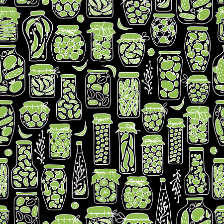 pickle: Seamless pattern with pickle jars fruits and vegetables. Vector illustration
