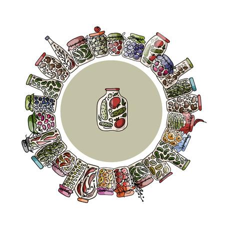 comiendo frutas: Marco con frascos de encurtidos, frutas y verduras. Ilustraci�n vectorial