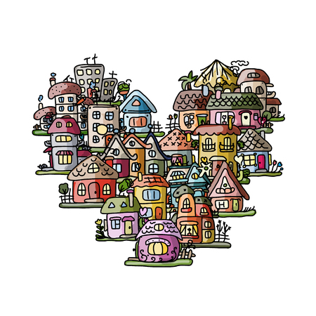 cartoon window: City of love, heart shape sketch for your design. Vector illustration