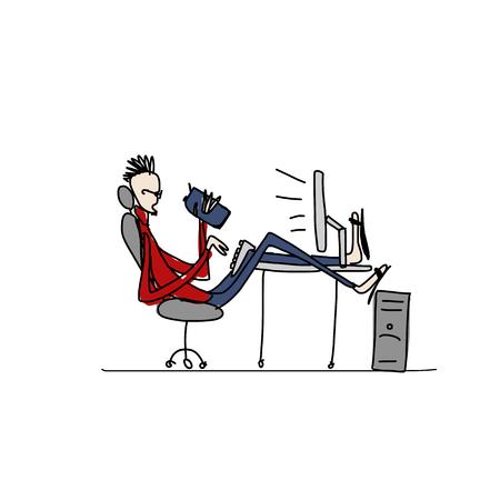 Programmer at work, sketch for your design. Vector illustration