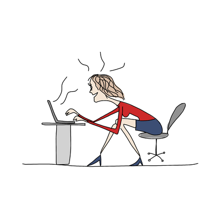 woman work: Programmer woman at work, sketch for your design. Vector illustration