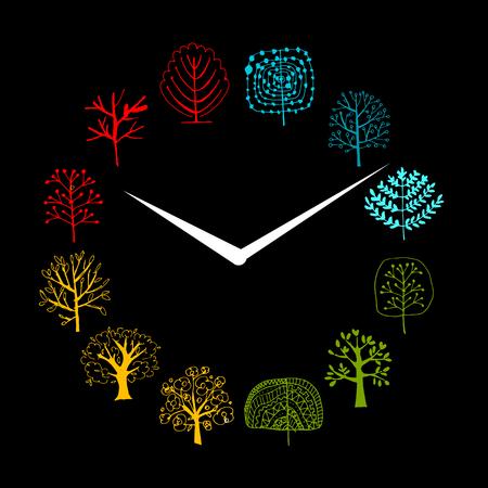 abstracto: Concepto estaciones, árboles en los relojes, boceto de su diseño. Ilustración vectorial