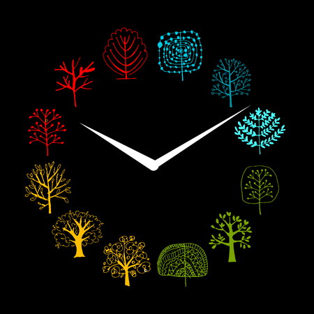 abstract: Seasons concept, trees on watches, sketch for your design. Vector illustration