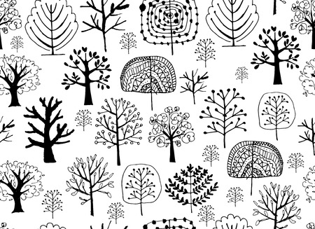 foliages: Seamless pattern with trees, sketch for your design. Vector illustration