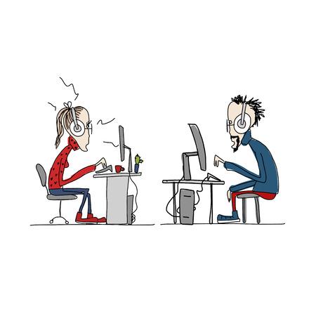 Programmers at work, sketch for your design. Vector illustration