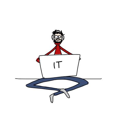 Yoga op het werk, man met laptop voor uw ontwerp. vector illustratie