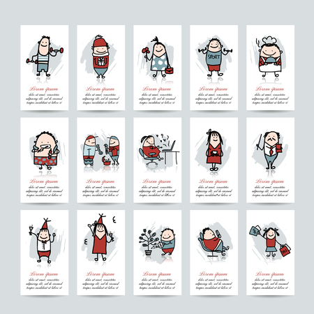 Funny people collection, business cards for your design. Vector illustration