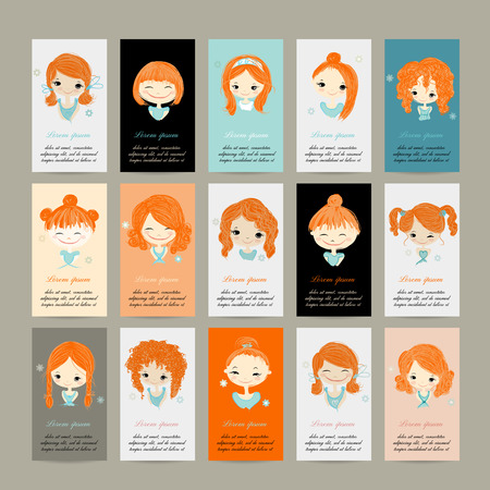 Business cards with cute girls for your design, vector illustration