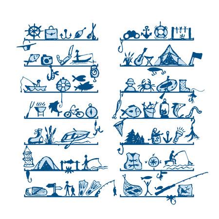 pesca: Estantes con iconos de pesca, boceto de su dise�o. Ilustraci�n vectorial Vectores