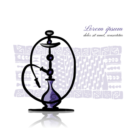 Hookah sketch for your design. Vector illustration