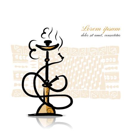 oriental rug: Hookah sketch for your design. Vector illustration