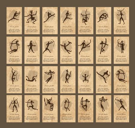 peinture rupestre: Les peintures rupestres avec des gens ethniques, cartes de visite, illustration vectorielle