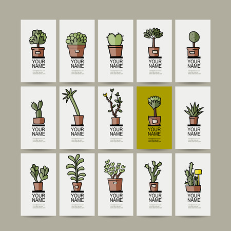 potted plant cactus: Business cards with cactus in pots, sketch for your design. Vector illustration