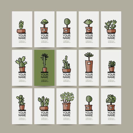 Business cards with cactus in pots, sketch for your design. Vector illustration