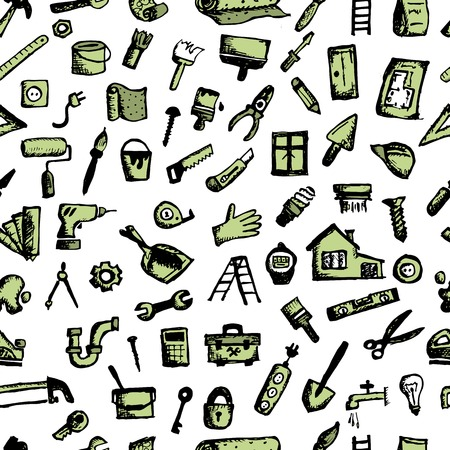 crosscut: House repair, seamless pattern for your design. Vector illustration