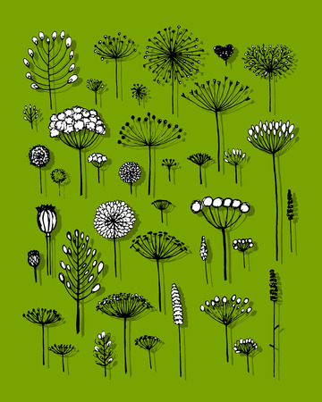drawing trees: Floral collection, sketch fro your design. Vector illustration