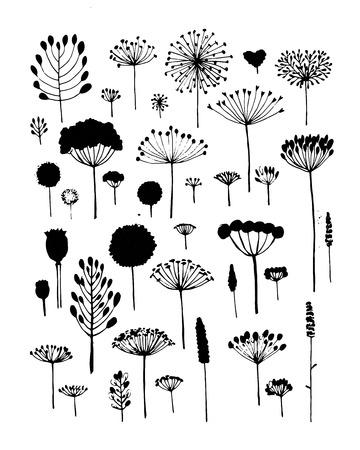 silhouette fleur: Floral collection, croquis vient votre conception. Vector illustration