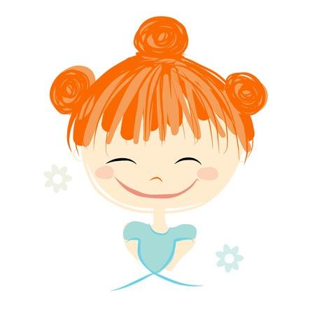 girl sketch: Cute girl smiling, sketch for your design, vector illustration Illustration
