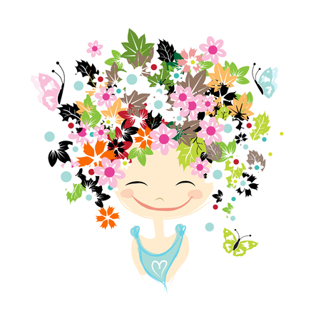 silhouette woman: Female portrait with floral hairstyle for your design. Vector illustration