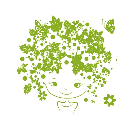 girl illustration: Female portrait with floral hairstyle for your design. Vector illustration