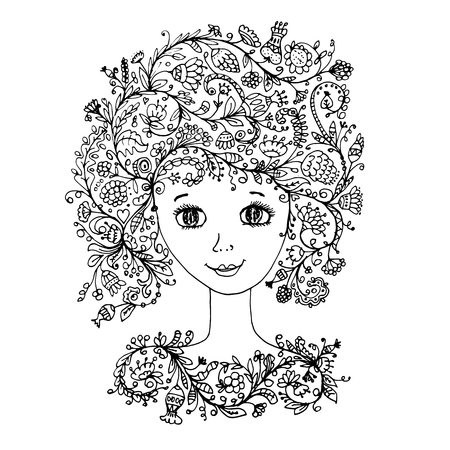 feminity: Female face with floral hairstyle for your design. Vector illustration