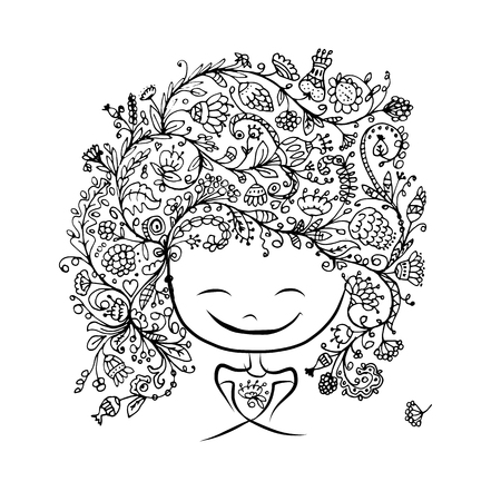 black woman face: Female face with floral hairstyle for your design. Vector illustration