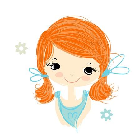 blonde: Cute girl smiling, sketch for your design, vector illustration Illustration