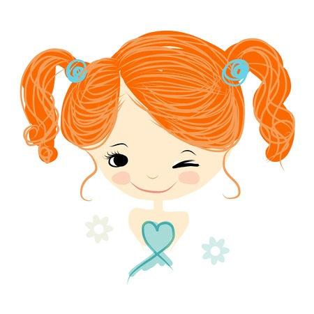blue eyes: Cute girl smiling, sketch for your design, vector illustration Illustration