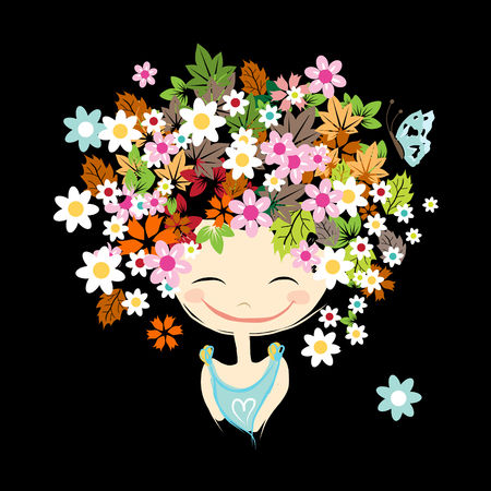 hairstyle: Female portrait with floral hairstyle for your design. Vector illustration