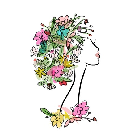 outline women: Female profile with floral hairstyle for your design. Vector illustration