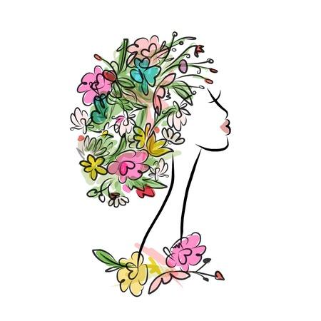 rosa negra: Perfil femenino con el peinado floral para su diseño. Ilustración vectorial Vectores