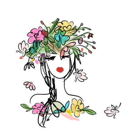 flower head: Female portrait with floral hairstyle for your design. Vector illustration