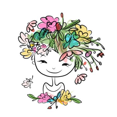 Retrato femenino con el peinado floral para su diseño. Ilustración vectorial Foto de archivo - 45320358