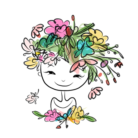 Female portrait with floral hairstyle for your design. Vector illustration
