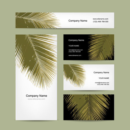 hojas de arbol: Business cards design with tropical palm leaf. Vector illustration Vectores