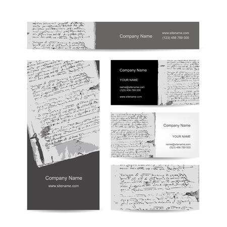 old grunge paper: Business cards design, ancient letter on old grunge paper. Vector illustration