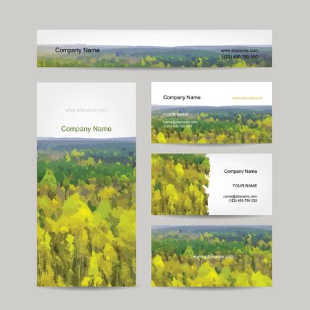 hills: Business cards design, autumn forest background, vector illustration Illustration