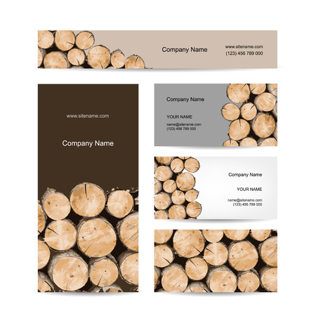 woodpile: Business cards design, stack of wood. Vector illustration Illustration