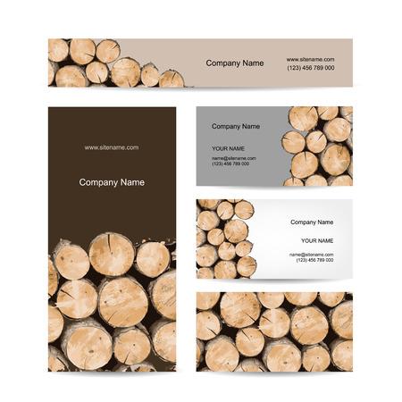 Business cards design, stack of wood. Vector illustration Illustration