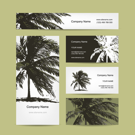 Business cards design with tropical palm tree. Vector illustration