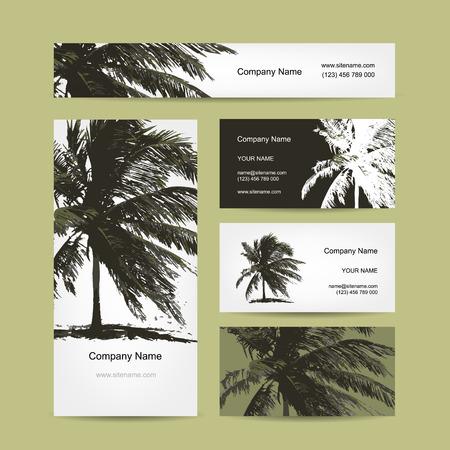 Las tarjetas de visita diseñan con la palmera tropical. Ilustración vectorial Vectores