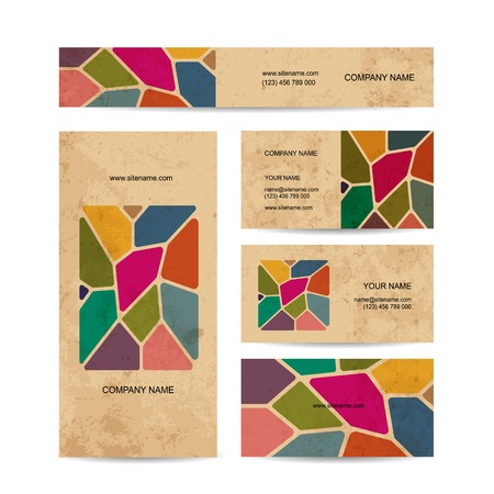 glass windows: Business cards on grunge paper, stained glass design. Vector illustration