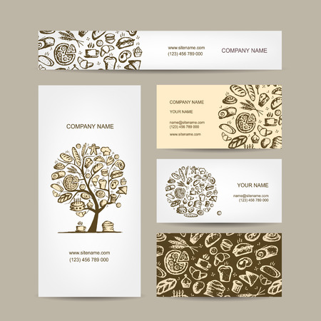 toast: Bakery business cards design. Vector illustration